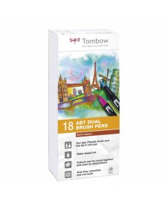 Tombow dual brush pen set 18 earth colours