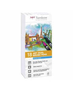 Tombow dual brush pen set 18 primary colours