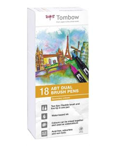 Tombow dual brush pen set 18 secondary colours