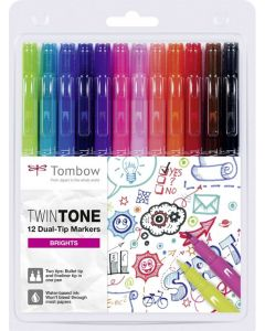 Tombow Twintone 12 dual-tip markers brights