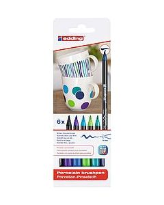 Edding porselein brushpen set blauw