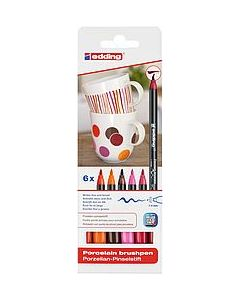 Edding porselein brushpen set rood