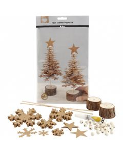 CCHobby faux leather paper kit - kerstbomen