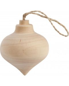 CChobby puntige kerstbal hout 9cm