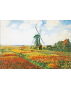 Ansichtkaart PC036 - Tulpenveld met molen in Holland, Claude Monet