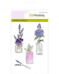 Craft Emotions clearstamps romantic provence - bottles with flowers