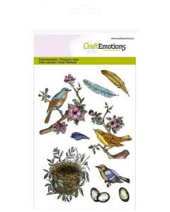 Craft Emotions clearstamps birds, feathers, eggs 130501/1239