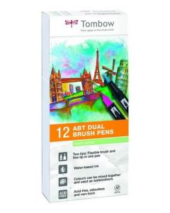 Tombow ABT dual brush pens 12 pastel colours