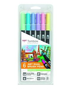 Tombow dual brush pen set 6 pastel