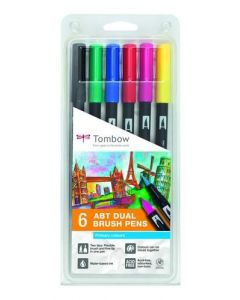Tombow dual brush pen set 6 primair