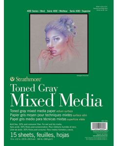 Strathmore 400 series mixed media toned gray 22.9 x 30.5 300gr
