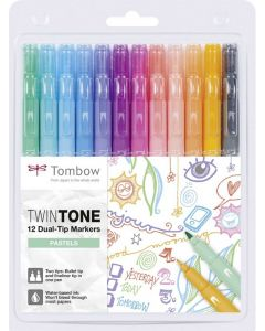 Tombow Twintone 12 dual-tip markers pastels