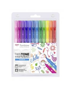 Tombow Twintone 12 dual-tip markers rainbow